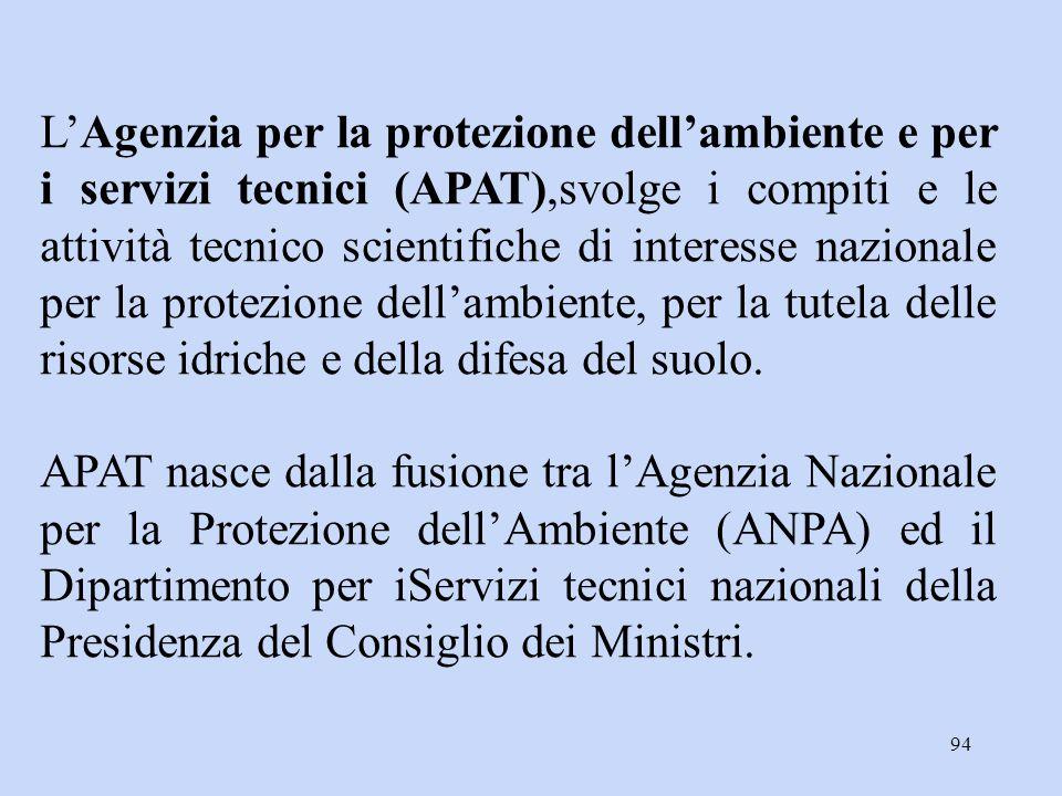 94 L'Agenzia per la protezione dell'ambiente e per i servizi tecnici (APAT),svolge i compiti e le attività tecnico scientifiche di interesse nazionale