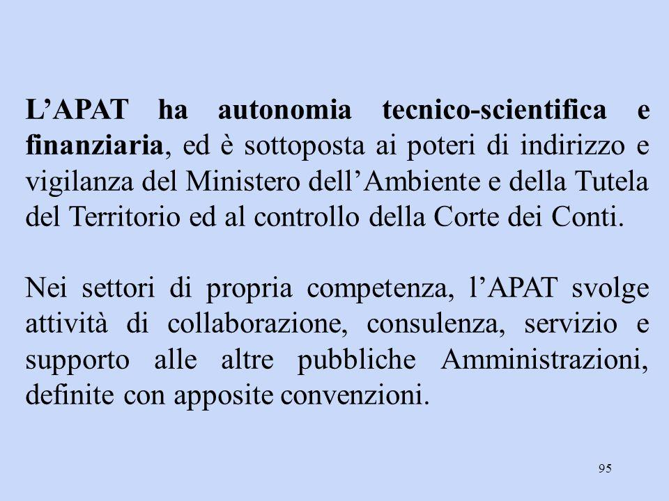 95 L'APAT ha autonomia tecnico-scientifica e finanziaria, ed è sottoposta ai poteri di indirizzo e vigilanza del Ministero dell'Ambiente e della Tutel