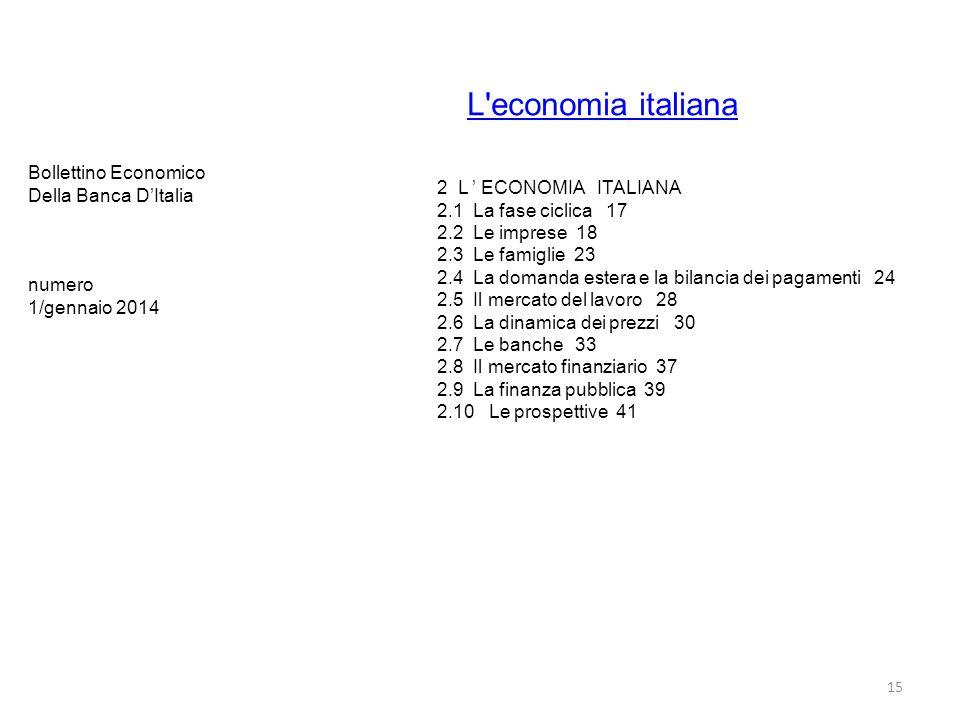 L'economia italiana 15 2 L ' ECONOMIA ITALIANA 2.1 La fase ciclica 17 2.2 Le imprese 18 2.3 Le famiglie 23 2.4 La domanda estera e la bilancia dei pag