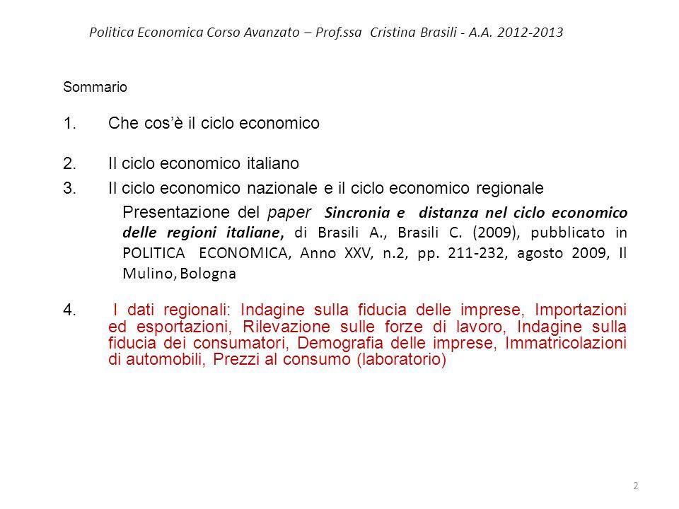 Politica Economica Corso Avanzato – Prof.ssa Cristina Brasili - A.A. 2012-2013 Sommario 1.Che cos'è il ciclo economico 2.Il ciclo economico italiano 3