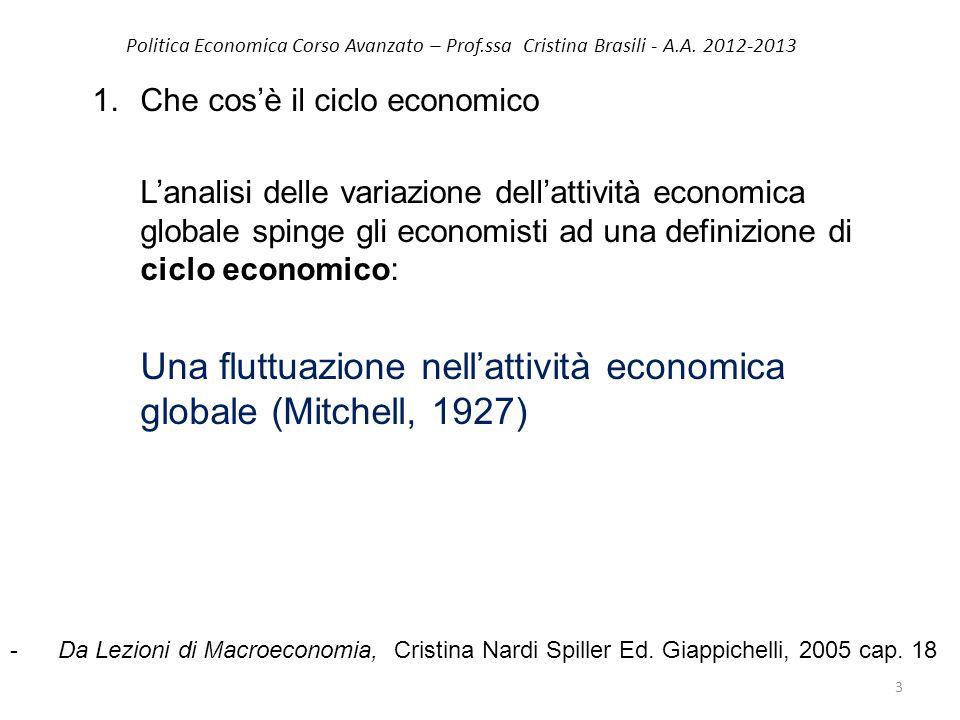 1.Che cos'è il ciclo economico L'analisi delle variazione dell'attività economica globale spinge gli economisti ad una definizione di ciclo economico: