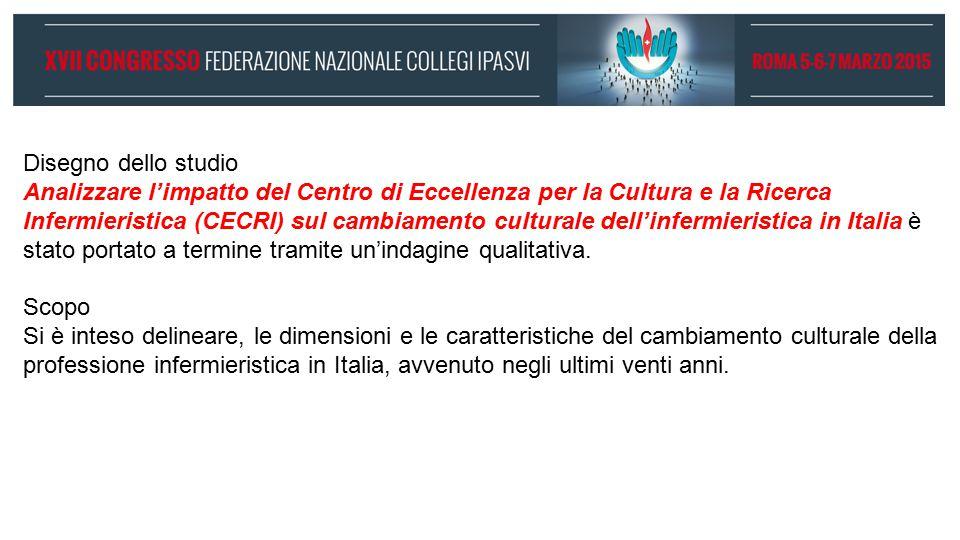 Disegno dello studio Analizzare l'impatto del Centro di Eccellenza per la Cultura e la Ricerca Infermieristica (CECRI) sul cambiamento culturale dell'infermieristica in Italia è stato portato a termine tramite un'indagine qualitativa.