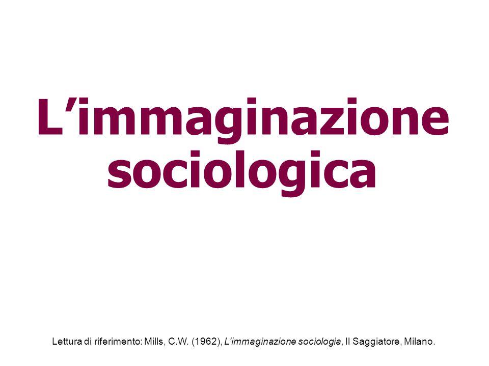 L'immaginazione sociologica Lettura di riferimento: Mills, C.W. (1962), L'immaginazione sociologia, Il Saggiatore, Milano.