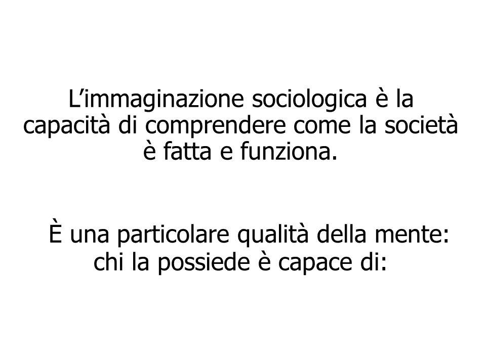L'immaginazione sociologica è la capacità di comprendere come la società è fatta e funziona. È una particolare qualità della mente: chi la possiede è