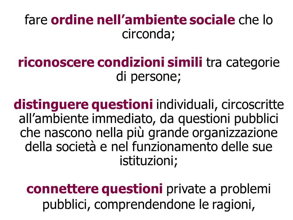 fare ordine nell'ambiente sociale che lo circonda; riconoscere condizioni simili tra categorie di persone; distinguere questioni individuali, circoscr