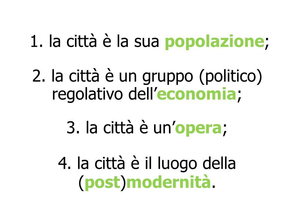 1. la città è la sua popolazione; 2. la città è un gruppo (politico) regolativo dell'economia; 3. la città è un'opera; 4. la città è il luogo della (p