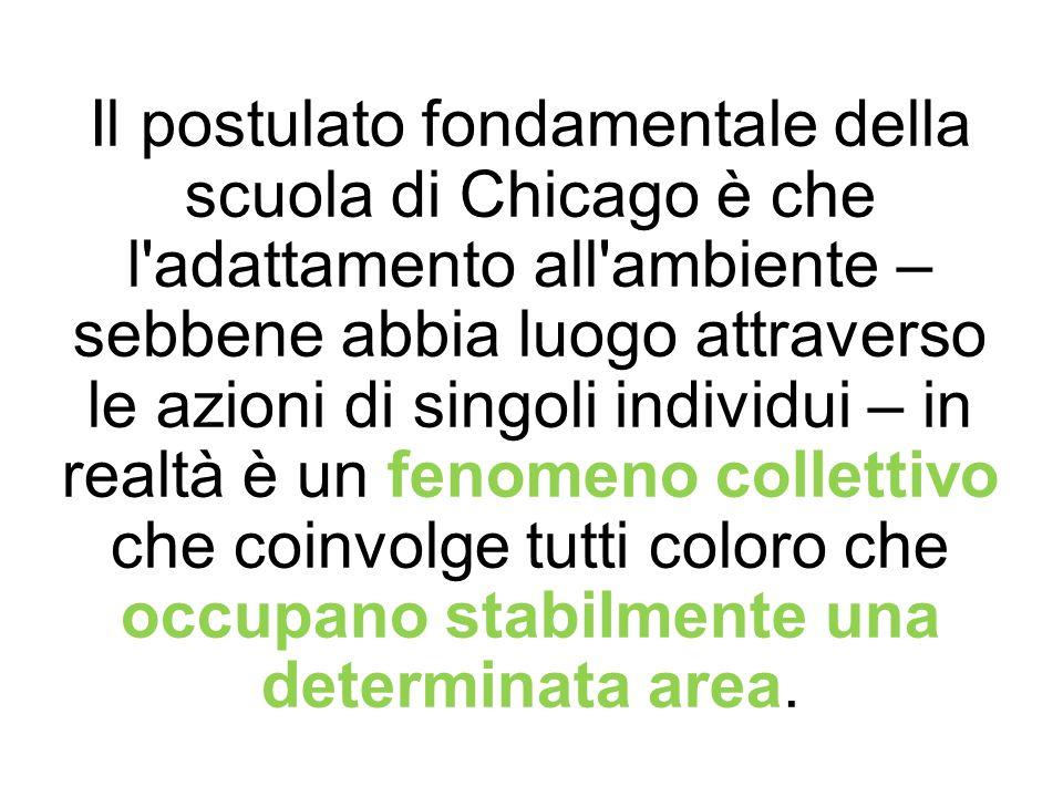 Il postulato fondamentale della scuola di Chicago è che l'adattamento all'ambiente – sebbene abbia luogo attraverso le azioni di singoli individui – i