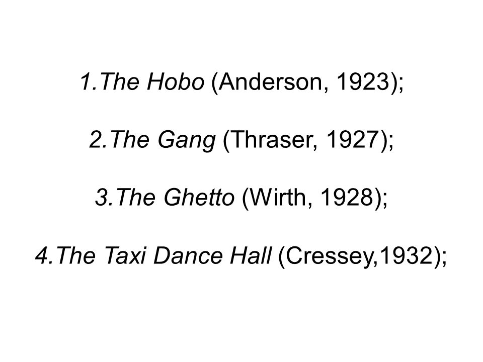 1.The Hobo (Anderson, 1923); 2.The Gang (Thraser, 1927); 3.The Ghetto (Wirth, 1928); 4.The Taxi Dance Hall (Cressey,1932);