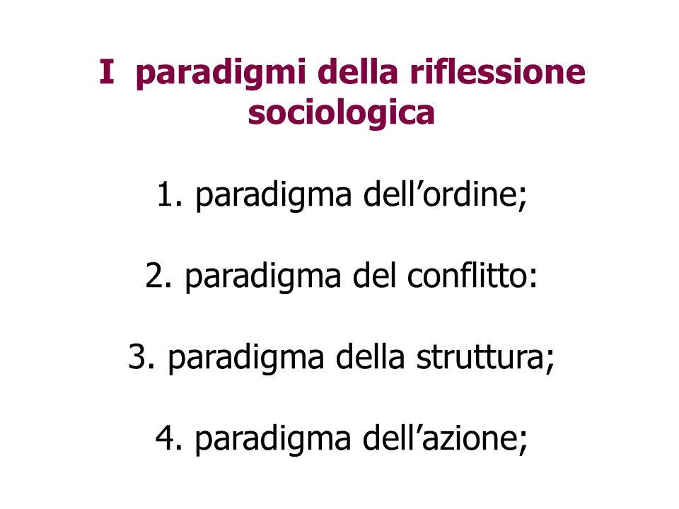 I paradigmi della riflessione sociologica 1. paradigma dell'ordine; 2. paradigma del conflitto: 3. paradigma della struttura; 4. paradigma dell'azione