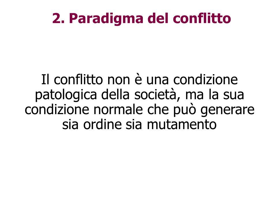Il conflitto non è una condizione patologica della società, ma la sua condizione normale che può generare sia ordine sia mutamento 2. Paradigma del co