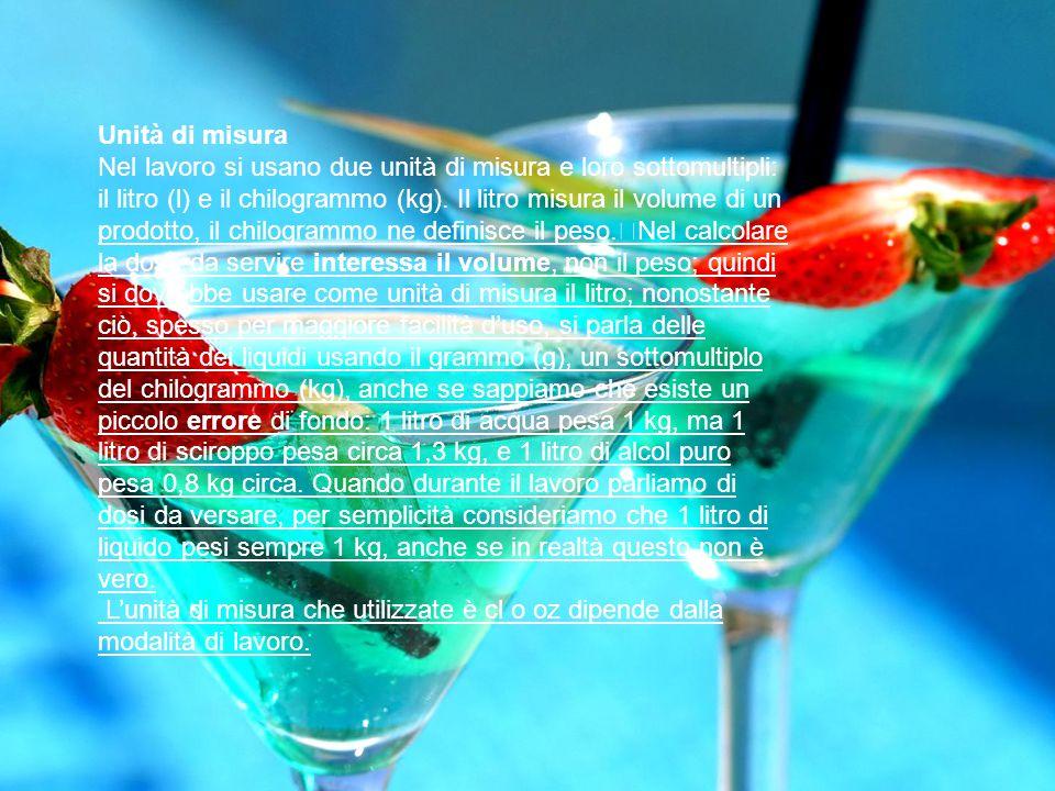Unità di misura Nel lavoro si usano due unità di misura e loro sottomultipli: il litro (l) e il chilogrammo (kg). Il litro misura il volume di un prod