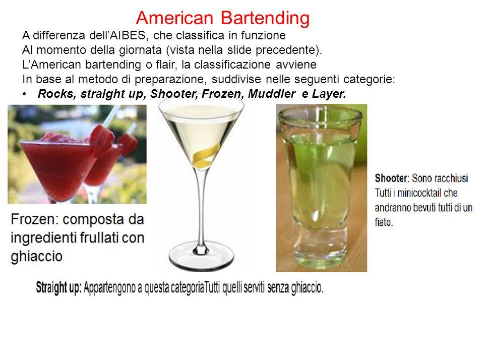 American Bartending A differenza dell'AIBES, che classifica in funzione Al momento della giornata (vista nella slide precedente). L'American bartendin