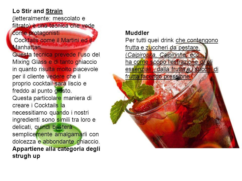 Lo Stir and Strain (letteralmente: mescolato e filtrato) è una tecnica che vede come protagonisti Cocktails come il Martini ed il Manhattan. Questa te