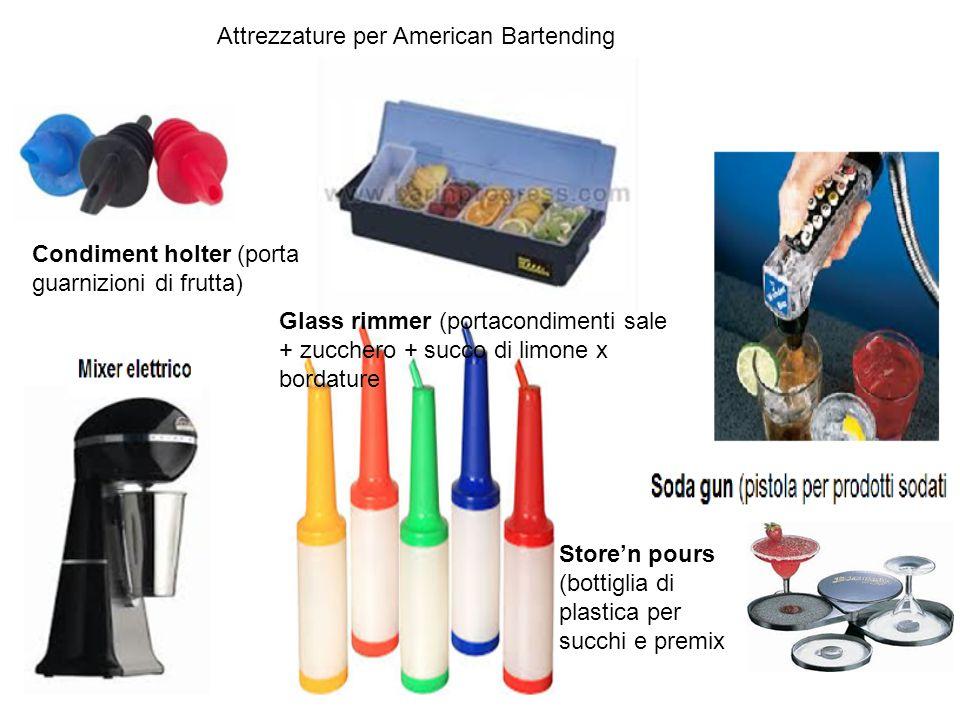 Glass rimmer (portacondimenti sale + zucchero + succo di limone x bordature Condiment holter (porta guarnizioni di frutta) Store'n pours (bottiglia di