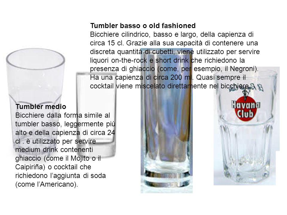 Tumbler basso o old fashioned Bicchiere cilindrico, basso e largo, della capienza di circa 15 cl. Grazie alla sua capacità di contenere una discreta q