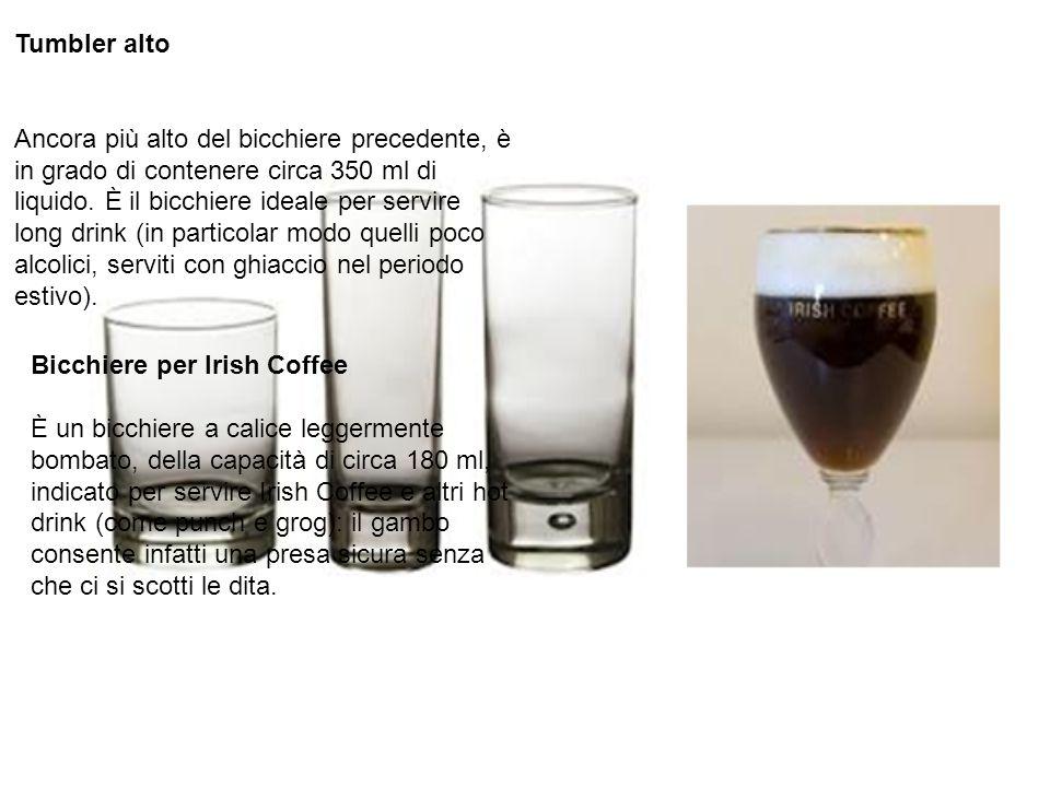Tumbler alto Ancora più alto del bicchiere precedente, è in grado di contenere circa 350 ml di liquido. È il bicchiere ideale per servire long drink (