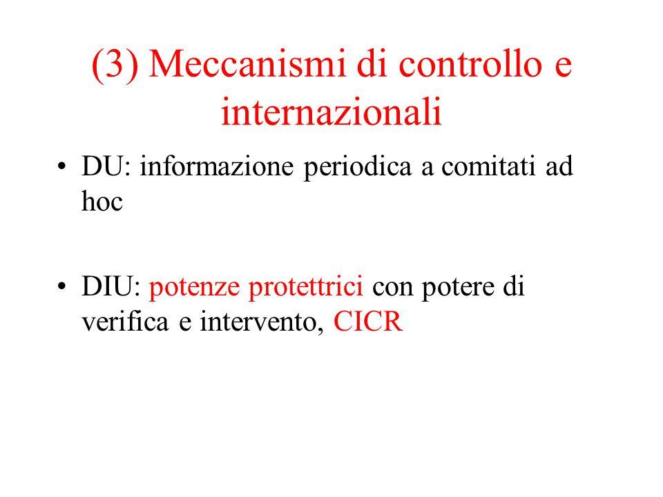 (3) Meccanismi di controllo e internazionali DU: informazione periodica a comitati ad hoc DIU: potenze protettrici con potere di verifica e intervento, CICR
