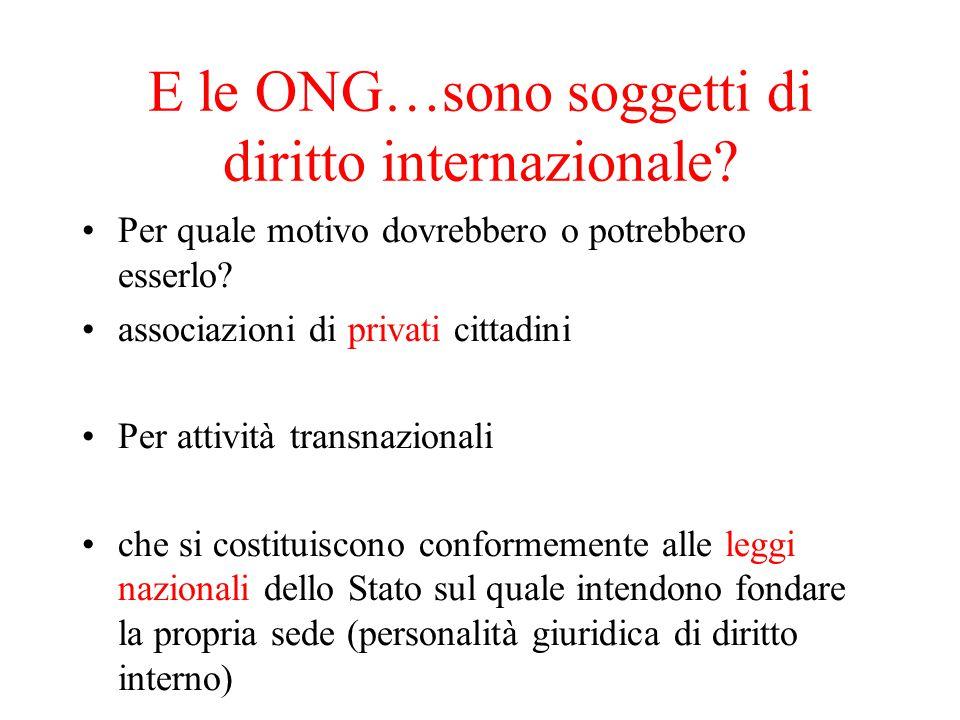 E le ONG…sono soggetti di diritto internazionale.Per quale motivo dovrebbero o potrebbero esserlo.