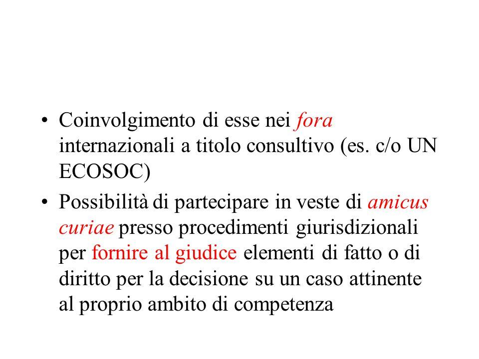 Coinvolgimento di esse nei fora internazionali a titolo consultivo (es.