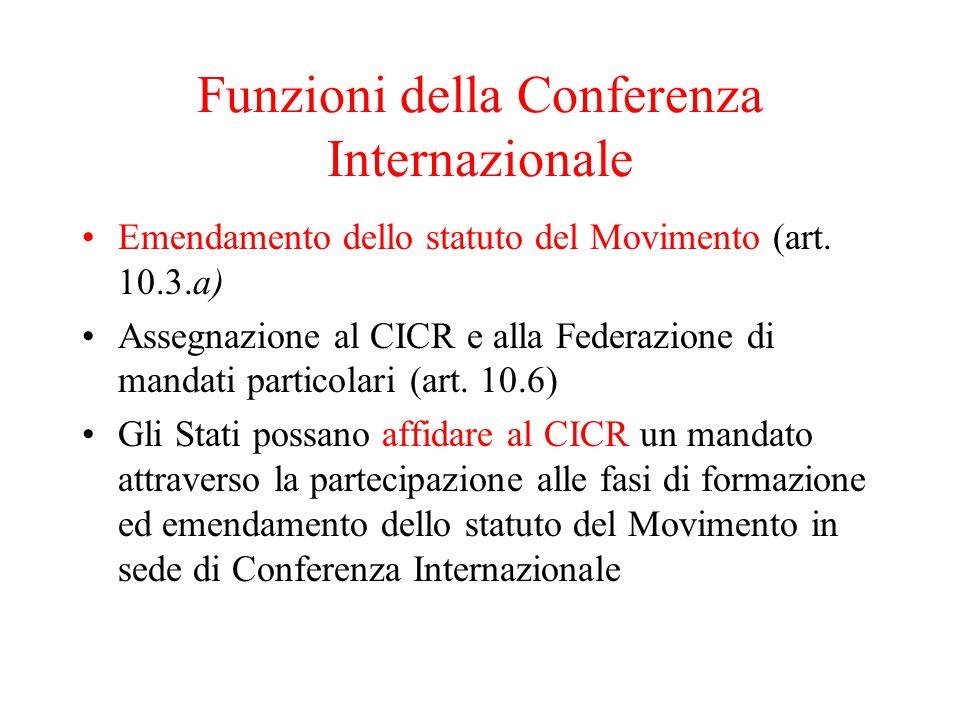 Funzioni della Conferenza Internazionale Emendamento dello statuto del Movimento (art.