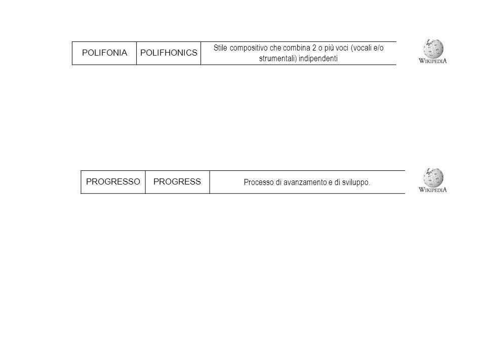 POLIFONIAPOLIFHONICS Stile compositivo che combina 2 o più voci (vocali e/o strumentali) indipendenti PROGRESSOPROGRESS Processo di avanzamento e di sviluppo.