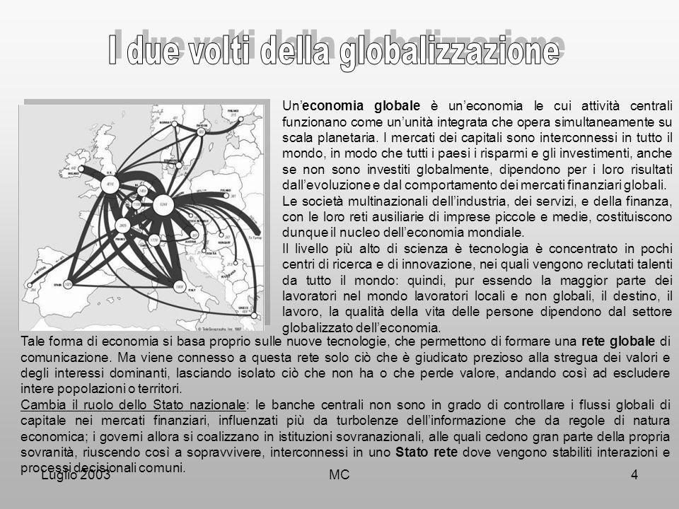 Luglio 2003MC4 Un'economia globale è un'economia le cui attività centrali funzionano come un'unità integrata che opera simultaneamente su scala planetaria.