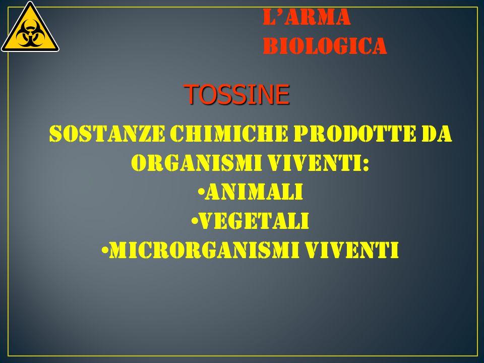 TOSSINE Sostanze chimiche prodotte da organismi viventi: animali vegetali microrganismi viventi L'arma biologica