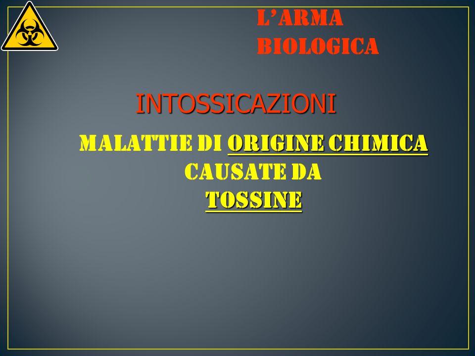 INTOSSICAZIONI origine chimica Malattie di origine chimica causate datossine L'arma biologica