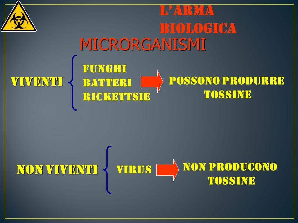 MICRORGANISMI viventi Funghi Batteri Rickettsie NON viventi Virus Possono produrre tossine NON producono tossine L'arma biologica