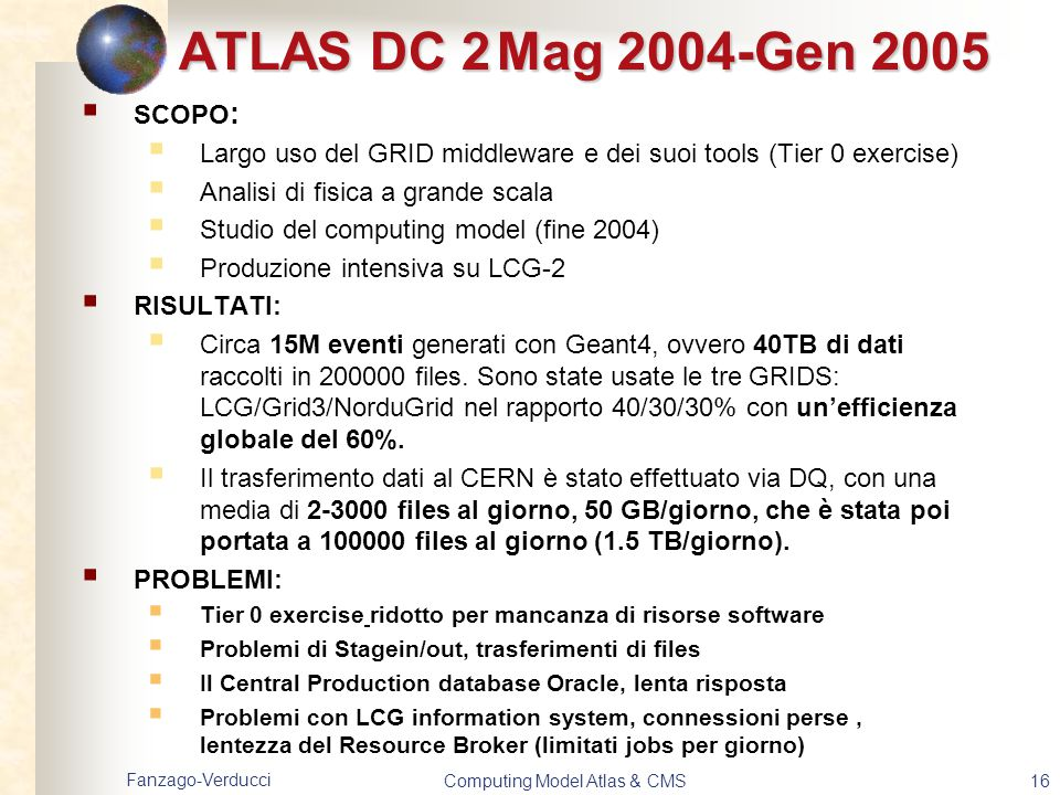 Fanzago-Verducci Computing Model Atlas & CMS16 ATLAS DC 2Mag 2004-Gen 2005  SCOPO :  Largo uso del GRID middleware e dei suoi tools (Tier 0 exercise