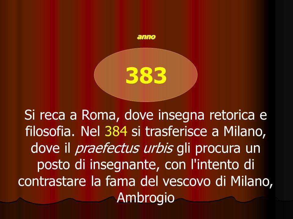 383 Si reca a Roma, dove insegna retorica e filosofia. Nel 384 si trasferisce a Milano, dove il praefectus urbis gli procura un posto di insegnante, c