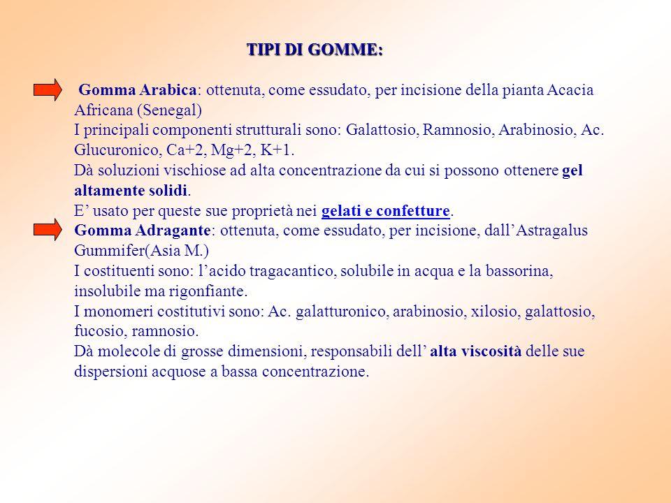 TIPI DI GOMME: Gomma Arabica: ottenuta, come essudato, per incisione della pianta Acacia Africana (Senegal) I principali componenti strutturali sono: