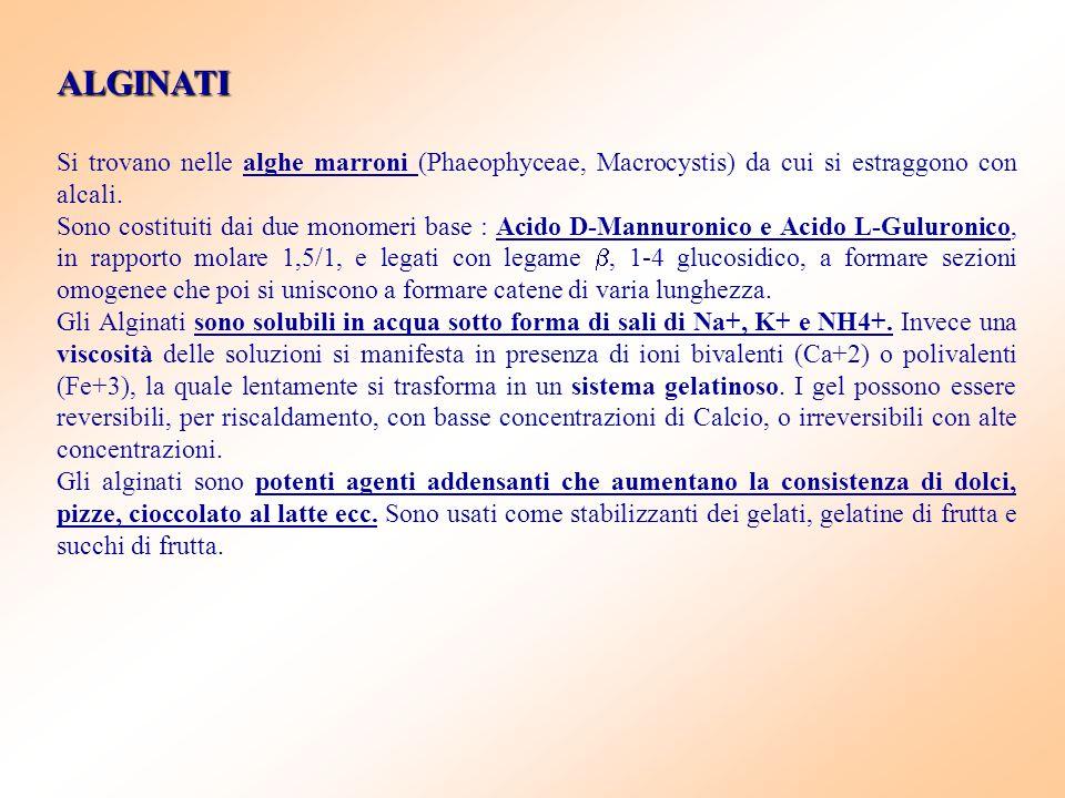 ALGINATI Si trovano nelle alghe marroni (Phaeophyceae, Macrocystis) da cui si estraggono con alcali. Sono costituiti dai due monomeri base : Acido D-M