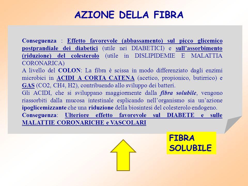 Conseguenza : Effetto favorevole (abbassamento) sul picco glicemico postprandiale dei diabetici (utile nei DIABETICI) e sull'assorbimento (riduzione)