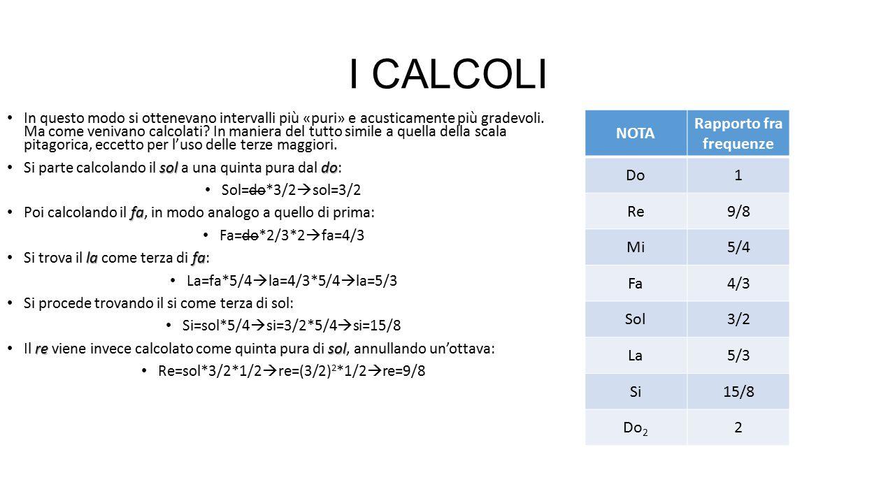 I CALCOLI In questo modo si ottenevano intervalli più «puri» e acusticamente più gradevoli. Ma come venivano calcolati? In maniera del tutto simile a