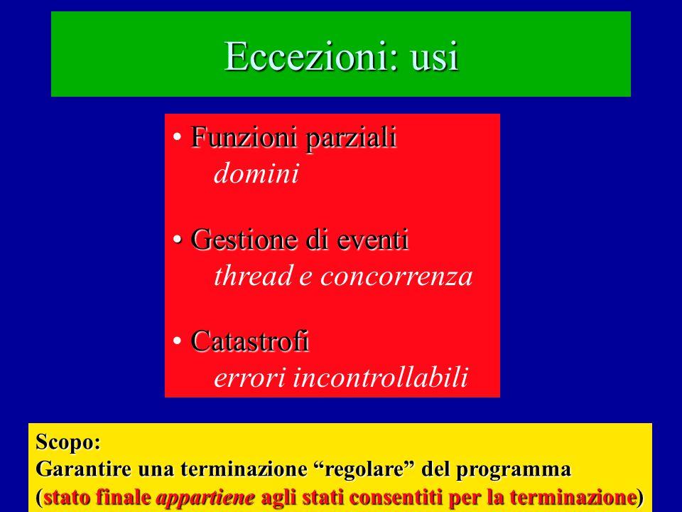Eccezioni: usi Funzioni parziali domini Gestione di eventi Gestione di eventi thread e concorrenza Catastrofi errori incontrollabili Scopo: Garantire