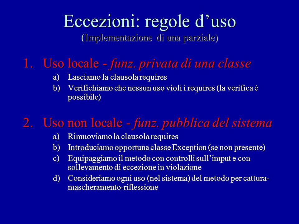 Eccezioni: regole d'uso (Implementazione di una parziale) 1.Uso locale - funz. privata di una classe a)Lasciamo la clausola requires b)Verifichiamo ch