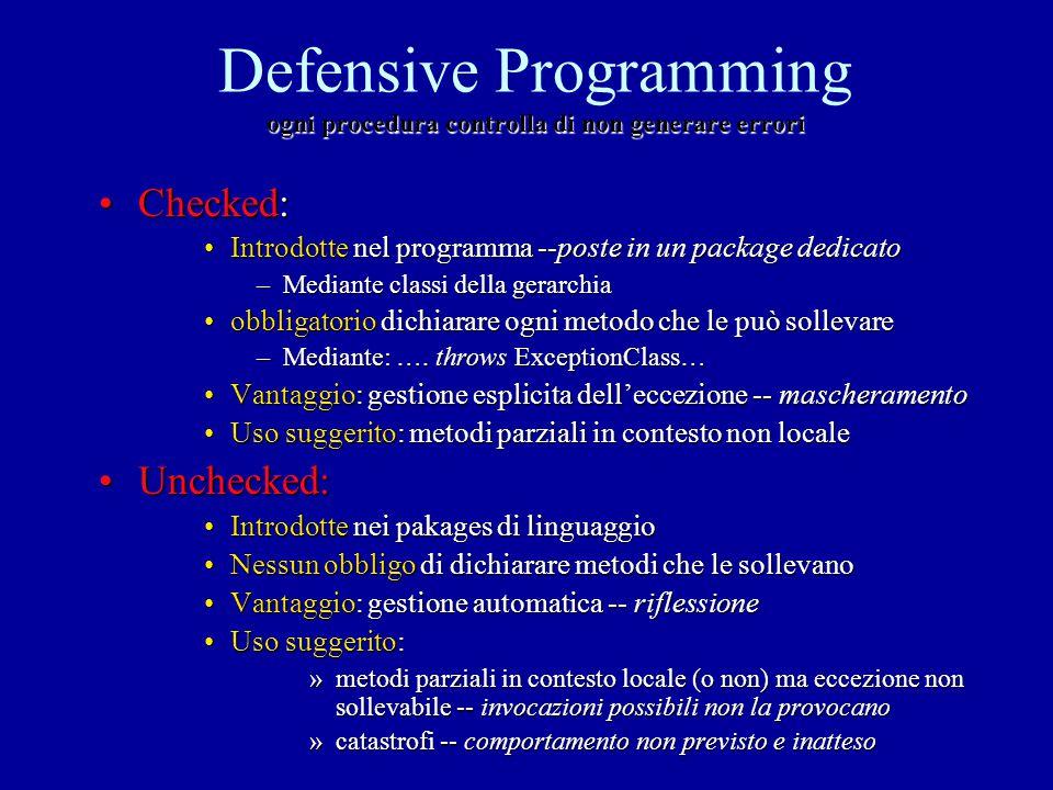 ogni procedura controlla di non generare errori Defensive Programming ogni procedura controlla di non generare errori Checked:Checked: Introdotte nel