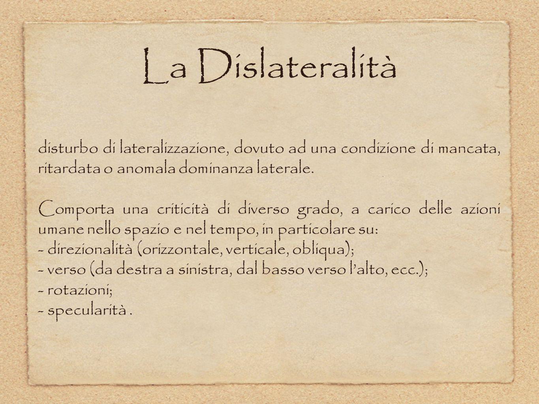 La Dislateralità disturbo di lateralizzazione, dovuto ad una condizione di mancata, ritardata o anomala dominanza laterale. Comporta una criticità di