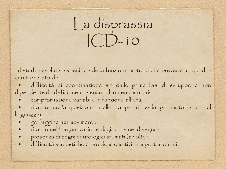 La disprassia ICD-10 disturbo evolutivo specifico della funzione motoria che prevede un quadro caratterizzato da: difficoltà di coordinazione sin dall