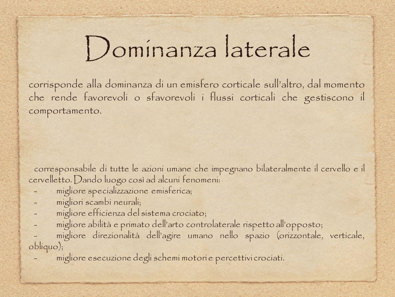 Mappa dei tipi di dominanza laterale 1.Destra primaria (pura).