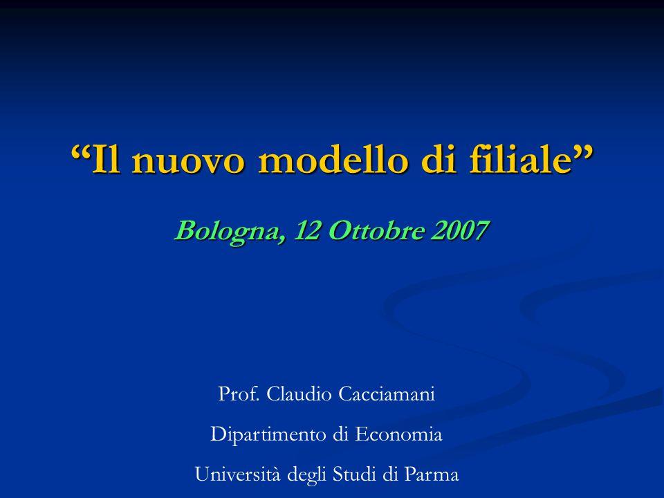 Il nuovo modello di filiale Bologna, 12 Ottobre 2007 Prof.