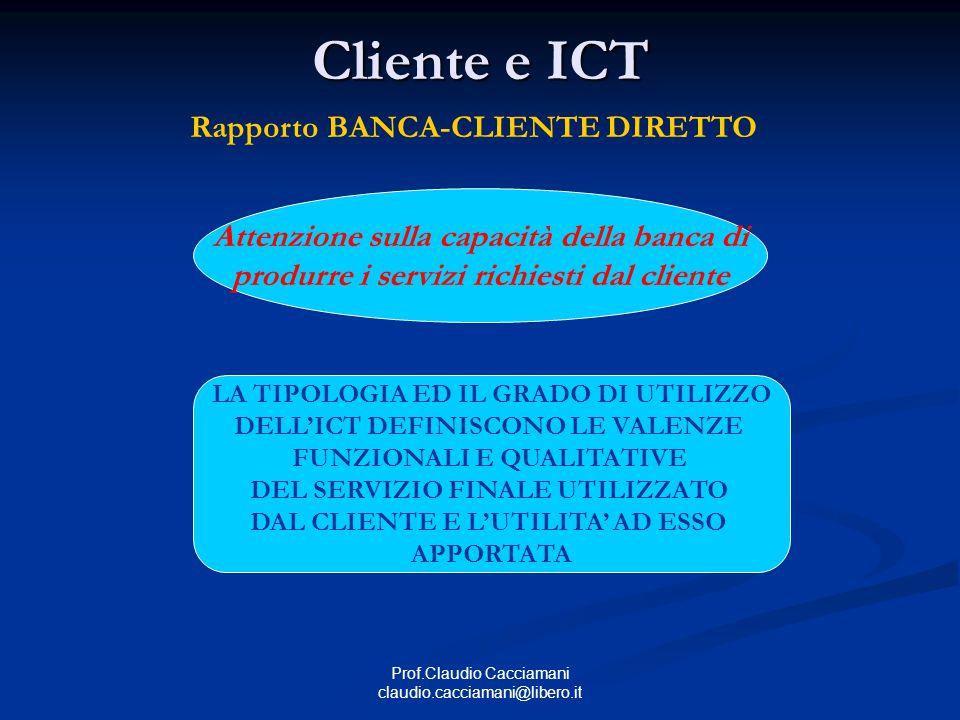 Prof.Claudio Cacciamani claudio.cacciamani@libero.it Cliente e ICT Rapporto BANCA-CLIENTE DIRETTO Attenzione sulla capacità della banca di produrre i servizi richiesti dal cliente LA TIPOLOGIA ED IL GRADO DI UTILIZZO DELL'ICT DEFINISCONO LE VALENZE FUNZIONALI E QUALITATIVE DEL SERVIZIO FINALE UTILIZZATO DAL CLIENTE E L'UTILITA' AD ESSO APPORTATA