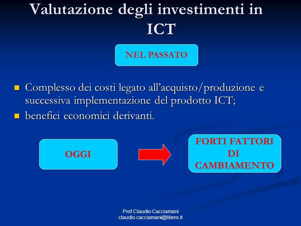 Prof.Claudio Cacciamani claudio.cacciamani@libero.it Valutazione degli investimenti in ICT Complesso dei costi legato all'acquisto/produzione e successiva implementazione del prodotto ICT; Complesso dei costi legato all'acquisto/produzione e successiva implementazione del prodotto ICT; benefici economici derivanti.