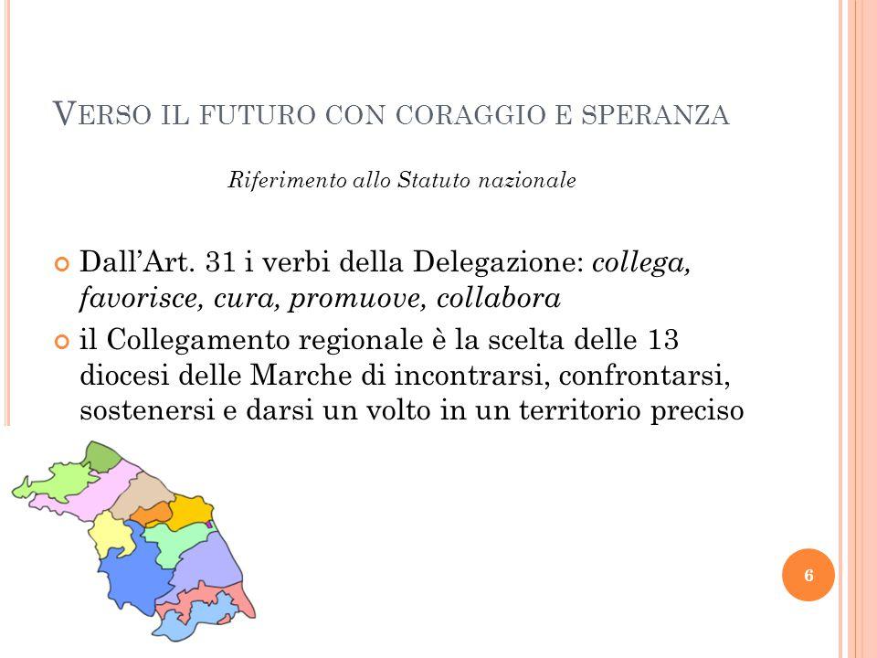 V ERSO IL FUTURO CON CORAGGIO E SPERANZA 6 Riferimento allo Statuto nazionale Dall'Art.