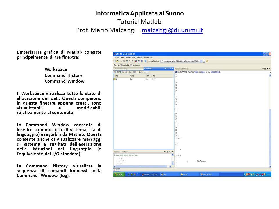 Informatica Applicata al Suono Tutorial Matlab Prof. Mario Malcangi – malcangi@di.unimi.itmalcangi@di.unimi.it L'interfaccia grafica di Matlab consist
