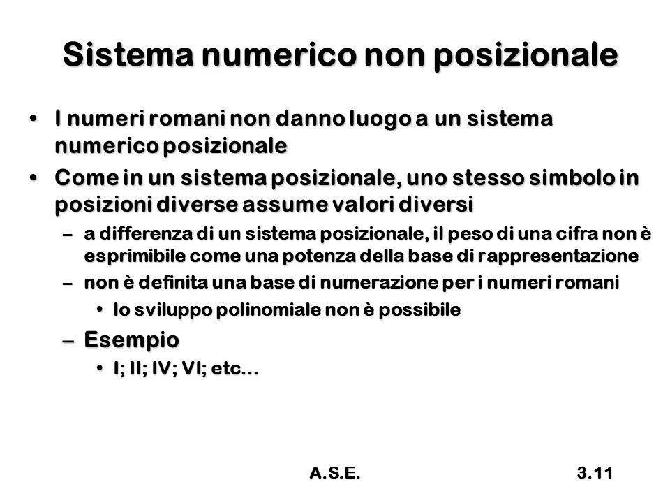 A.S.E.3.11 Sistema numerico non posizionale I numeri romani non danno luogo a un sistema numerico posizionaleI numeri romani non danno luogo a un sistema numerico posizionale Come in un sistema posizionale, uno stesso simbolo in posizioni diverse assume valori diversiCome in un sistema posizionale, uno stesso simbolo in posizioni diverse assume valori diversi –a differenza di un sistema posizionale, il peso di una cifra non è esprimibile come una potenza della base di rappresentazione –non è definita una base di numerazione per i numeri romani lo sviluppo polinomiale non è possibilelo sviluppo polinomiale non è possibile –Esempio I; II; IV; VI; etc…I; II; IV; VI; etc…