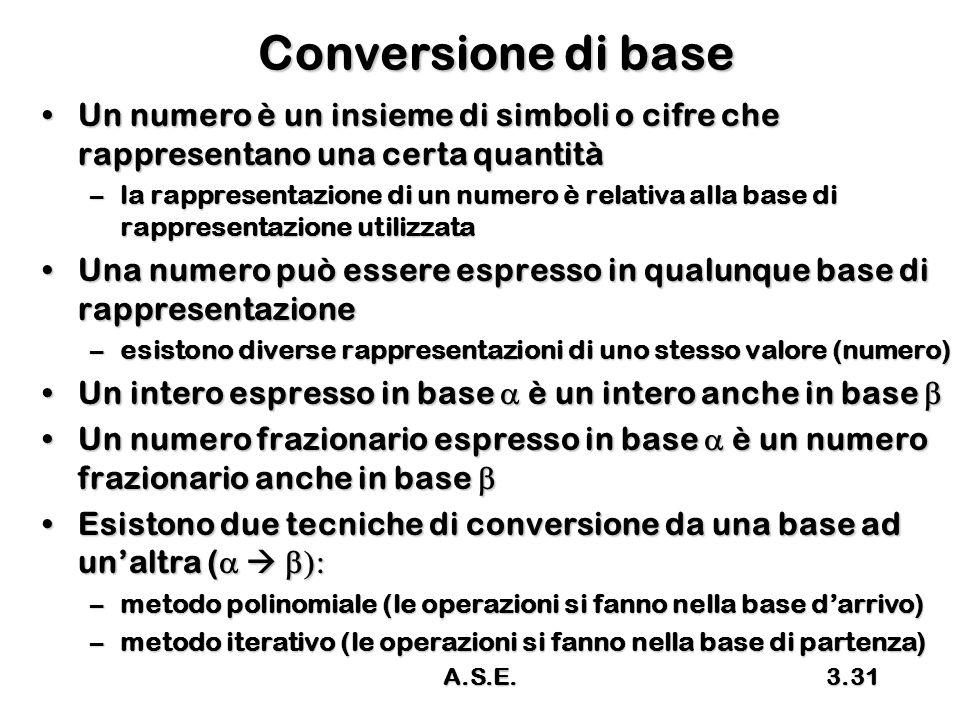 A.S.E.3.31 Conversione di base Un numero è un insieme di simboli o cifre che rappresentano una certa quantitàUn numero è un insieme di simboli o cifre
