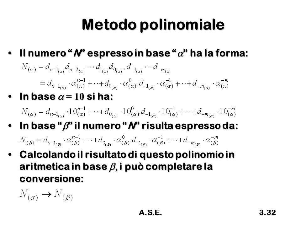A.S.E.3.32 Metodo polinomiale Il numero N espresso in base  ha la forma:Il numero N espresso in base  ha la forma: In base  = 10 si ha:In base  = 10 si ha: In base  il numero N risulta espresso da:In base  il numero N risulta espresso da: Calcolando il risultato di questo polinomio in aritmetica in base  i può completare la conversione:Calcolando il risultato di questo polinomio in aritmetica in base  i può completare la conversione: