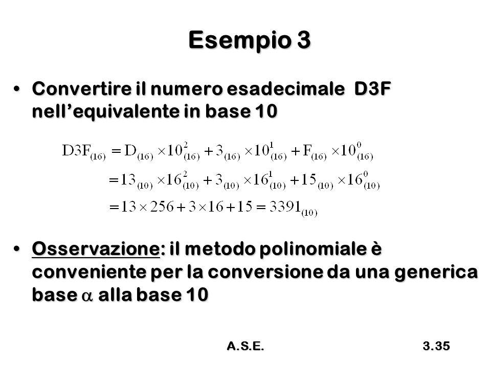 A.S.E.3.35 Esempio 3 Convertire il numero esadecimale D3F nell'equivalente in base 10Convertire il numero esadecimale D3F nell'equivalente in base 10 Osservazione: il metodo polinomiale è conveniente per la conversione da una generica base  alla base 10Osservazione: il metodo polinomiale è conveniente per la conversione da una generica base  alla base 10